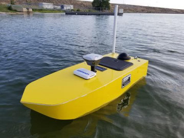 SimpleUnmanned HarborScout USV on the water