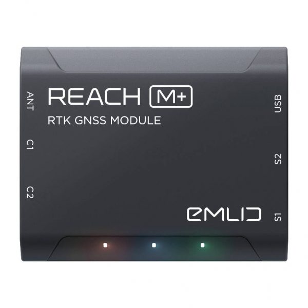 Top of an Emlid Reach M+ RTK GNSS receiver module
