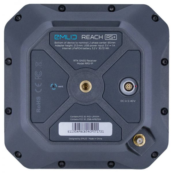 Bottom of an Emlid Reach RS+ RTK GNSS receiver